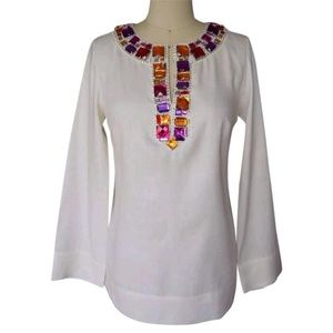 MAGASCHONI COLLECTION Creme Jeweled Neckline Top 4